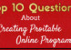 Top 10 Questions About Creating Profitable Online Programs